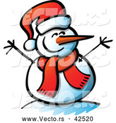 Vector of a Smiling Cartoon Snowman with Open Twig Arms, Santa Hat, and Scarf by Zooco