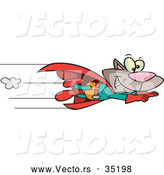 Vector of a Smiling Cartoon Super Cat Flying Fast with a Red Cape by Toonaday