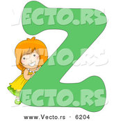 August 25th, 2017: Vector of a Smiling Child Beside Alphabet Letter Z by BNP Design Studio
