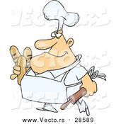 Vector of a Smiling Fat Male Baker Carrying Bread Loaves - Cartoon Stryle by Toonaday