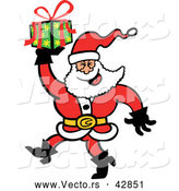 Vector of a Smiling Merry Cartoon Santa Carrying a Present by Zooco