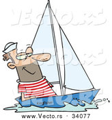September 24th, 2016: Vector of a Smiling Sailor Sailing a Small Sail Boat - Cartoon Style by Ron Leishman