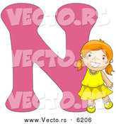 August 25th, 2017: Vector of a Smiling Young Girl Beside Alphabet Letter N by BNP Design Studio