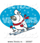Vector of a Snow Skiing Cartoon Polar Bear by Ron Leishman