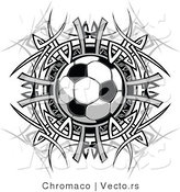 Vector of a Soccer Ball Centered Within a Tribal Circle - Black and White Version by Chromaco