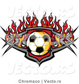 Vector of a Soccer Ball over a Tribal Badge Surround by Fire by Chromaco