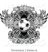 Vector of a Soccer Ball over Ornate Wings Icon - Black and White Version by Chromaco