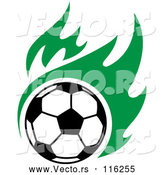 Vector of a Soccer Ball with Green Flames by Vector Tradition SM