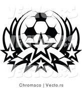 Vector of a Soccer Ball with Stars - Black and White Outline by Chromaco