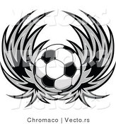 Vector of a Soccer Ball with Wings - Black and White Version by Chromaco