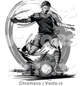 Vector of a Soccer Player Kicking Ball - Grayscale by Chromaco