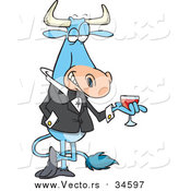 Vector of a Sophisticated Mr Bull with Wine by Toonaday