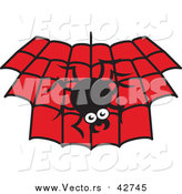 Vector of a Spider Hanging down over a Black and Red Web by Zooco