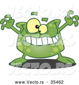 Vector of a Spotted Green Cartoon Monster Trying to Scare by Toonaday