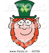 Vector of a St. Paddy's Day Cartoon Leprechaun Smiling by Zooco