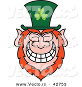 Vector of a St. Paddy's Day Cartoon Leprechaun with Big Grin on His Face by Zooco