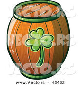 Vector of a St. Patrick's Day Beer Keg with Clover Printed on Side of Wood by Zooco