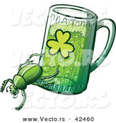 Vector of a St. Patrick's Day Cartoon Beetle Dragging a Beer Mug with a Clover Printed on the Side of the Glass by Zooco