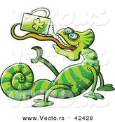 Vector of a St. Patrick's Day Cartoon Chameleon Drinking Beer from Clover Mug by Zooco
