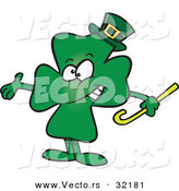 Vector of a St. Patrick's Day Cartoon Clover Presenting Stance by Ron Leishman