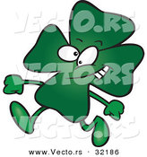 Vector of a St. Patrick's Day Cartoon Clover Walking with a Smile by Ron Leishman