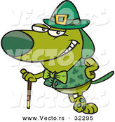 Vector of a St. Patrick's Day Cartoon Dog Leaning Against His Cane While Grinning by Ron Leishman