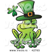 Vector of a St. Patrick's Day Cartoon Frog Wearing a Clover Green Hat by Zooco
