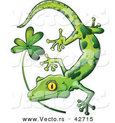 Vector of a St. Patrick's Day Cartoon Gecko Biting Clover Stem by Zooco