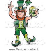 Vector of a St. Patrick's Day Cartoon Leprechaun Celebrating with Full Mug of Beer by Zooco