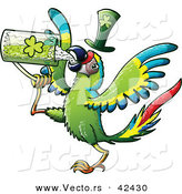 Vector of a St. Patrick's Day Cartoon Macaw Parrot Bird Drinking Beer from Clover Mug by Zooco