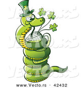 Vector of a St. Patrick's Day Cartoon Snake Drinking Beer from Clover Mug by Zooco