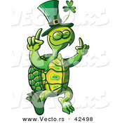 Vector of a St. Patrick's Day Cartoon Turtle Dancing with Clover Hat by Zooco