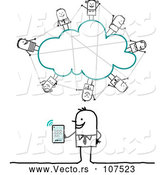 Vector of a Stick Business Man Social Networking on a Cloud with Tablet Computer by NL Shop