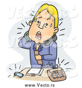 December 8th, 2014: Vector of a Stressed Blond White Businessman Answering Phone Calls over Blue by BNP Design Studio