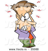 Vector of a Stressed Cartoon Businessman Holding His Overloaded Head by Ron Leishman
