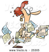 Vector of a Stressed Cartoon Businesswoman Trying to Carry Lots of Office Documents by Ron Leishman