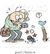 Vector of a Stressed Cartoon Man Holding a Broken Camera Beside a Bird on a Post by Gnurf