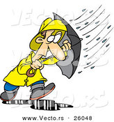 Vector of a Stressed Cartoon Man Walking Through a Nasty Rain Storm with an Umbrella by Toonaday