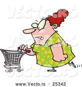 Vector of a Stressed Cartoon Woman Pushing a Shopping Cart While Grinning by Toonaday