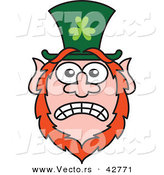 Vector of a Stressed out St. Paddy's Day Cartoon Leprechaun with Worried Look on His Face by Zooco