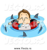Vector of a Stressed White Businessman Surrounded by Circling Sharks by BNP Design Studio