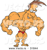 Vector of a Strong Cartoon Bodybuilder Flexing His Muscles While Posiing and Grinning by Toonaday