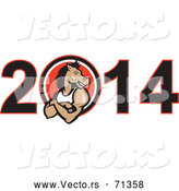 Vector of a Strong Cartoon Horse Inside the Zero of 2014 by Patrimonio