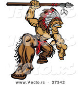 Vector of a Strong Cartoon Native American Chief Mascot Attacking with a Spear by Chromaco