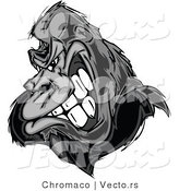 Vector of a Strong Gorilla Gritting Teeth - Grayscale by Chromaco