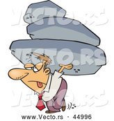 Vector of a Struggling Cartoon Businessman Carrying Heavy Boulders by Ron Leishman