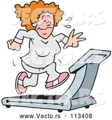 Vector of a Struggling Cartoon Woman Sweating and Running on a Treadmill by Johnny Sajem