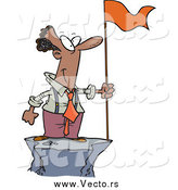 Vector of a Successful Black Business Man Standing on a Mountain Top with a Red Flag by Toonaday