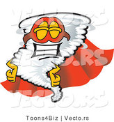 Vector of a Super Cartoon Tornado Wearing a Red Cape and Mask by Toons4Biz