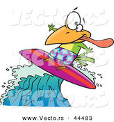 Vector of a Surfing Cartoon Bird Riding a Wave by Toonaday